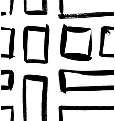 Paint drawing seamless pattern black and white vector
