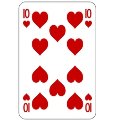Poker playing card 10 heart vector