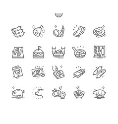 pork well-crafted pixel perfect thin line vector image