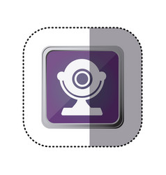 Purple emblem computer camera icon vector
