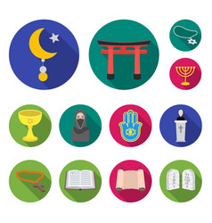religion and belief flat icons in set collection vector image
