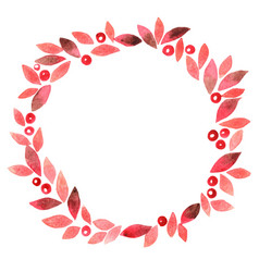 romantic red leaf and berry wreath watercolor vector image