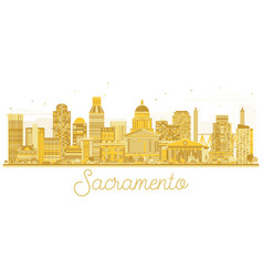 Sacramento california usa city skyline golden vector