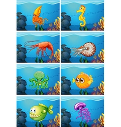 Scenes with sea animals under the sea vector