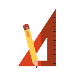 School education triangle ruler and pencil flat vector