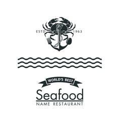 seafood menu design vector image