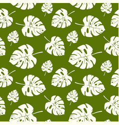 seamless pattern with tropical monstera leaves vector image