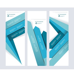 set abstract paper banners with blue arrows vector image