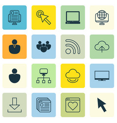 Set of 16 internet icons includes blog page vector