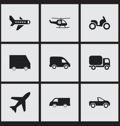 Set of 9 editable transport icons includes vector