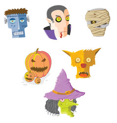 set of halloween monsters faces vector image