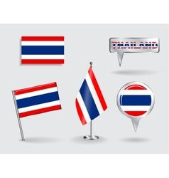 set thailand pin icon and map pointer flags vector image