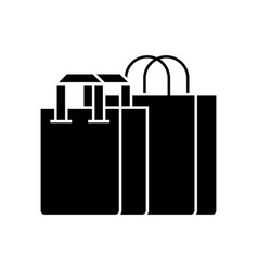 shopping bags icon black vector image