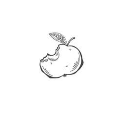 sketch drawing of bitten apple cartoon draw vector image