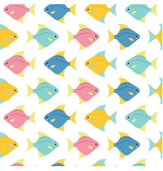 small colorful fishes on white background vector image
