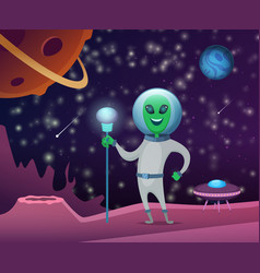 space background with character funny alien vector image