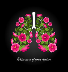 take care of your health human lungs blooming vector image