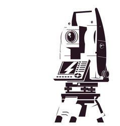 Total station geodetic silhouette vector