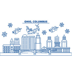 usa ohio columbus winter city skyline merry vector image
