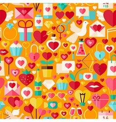 valentine day flat design orange seamless pattern vector image