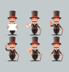 Victorian gentleman business cartoon characters vector