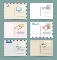 Vintage postcard template set vector