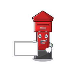 With board pillar box isolated with cartoon vector