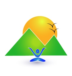 Yoga and nature logo vector image