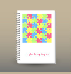 Cover of diary pastel colored cute puzzle pattern vector