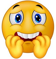 Scared emoticon smiley vector image vector image