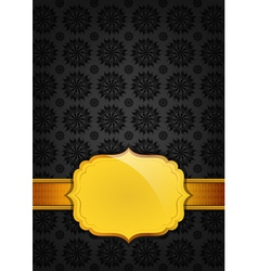 Black abstract texture and golden ribbon vector image vector image