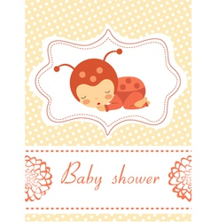 Card with baby ladybird vector image vector image
