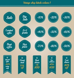 Collection of vintage shop labels - sale and offer vector