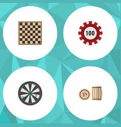 flat icon games set of lottery poker chess table vector image vector image