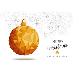 Gold Christmas and new year ornament in low poly vector image vector image
