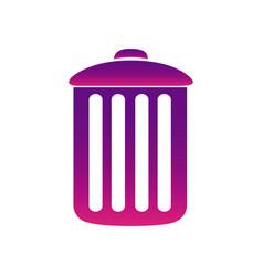 Purple can trash icon vector