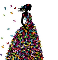 Silhouette of woman in a butterflies dress vector image vector image