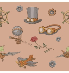 Seamless pattern Steampunk with steampunk top hat vector image vector image