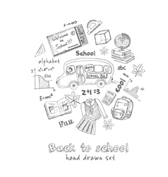 Set of school drawings Sketches Hand-drawing vector image vector image