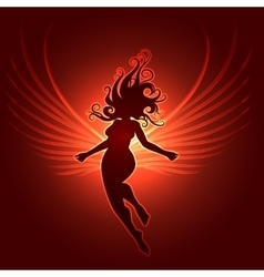Winged Girl in fantasy style vector image