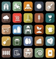 Farming flat icons with long shadow vector image vector image