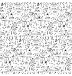 Hand drawn circus seamless pattern vector image
