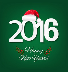 happy new year card with red santa hat vector image