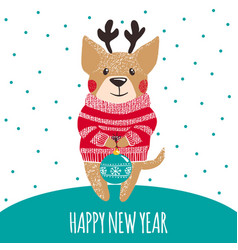 new year greeting card with cute dog vector image