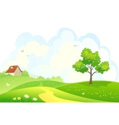 Rural spring scene vector image vector image