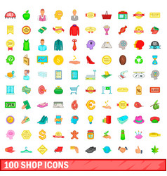 100 shop icons set cartoon style vector image