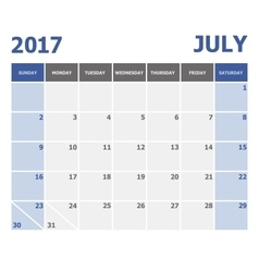 2017 July calendar week starts on Sunday vector