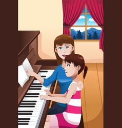A girl learning to play a piano vector