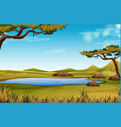 A savanna nature scene vector