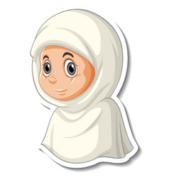 A sticker template with portrait muslim girl vector
